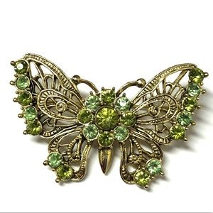 Jewelry - Gorgeous Gold Butterfly Brooch Green Rhinestones